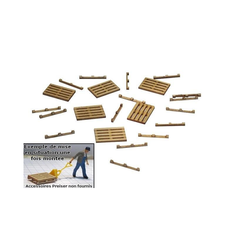Palettes à monter x6 - bois véritable - H0
