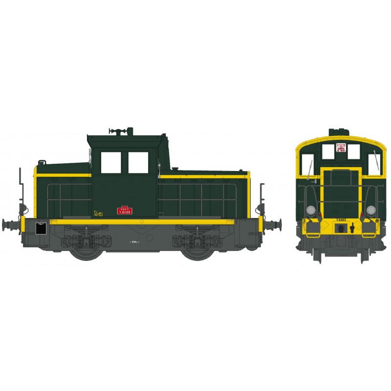 Y 6463 SNCF - vert - châssis gris - traverse jaune - bandes jaunes jonquilles - plaques rouges - H0
