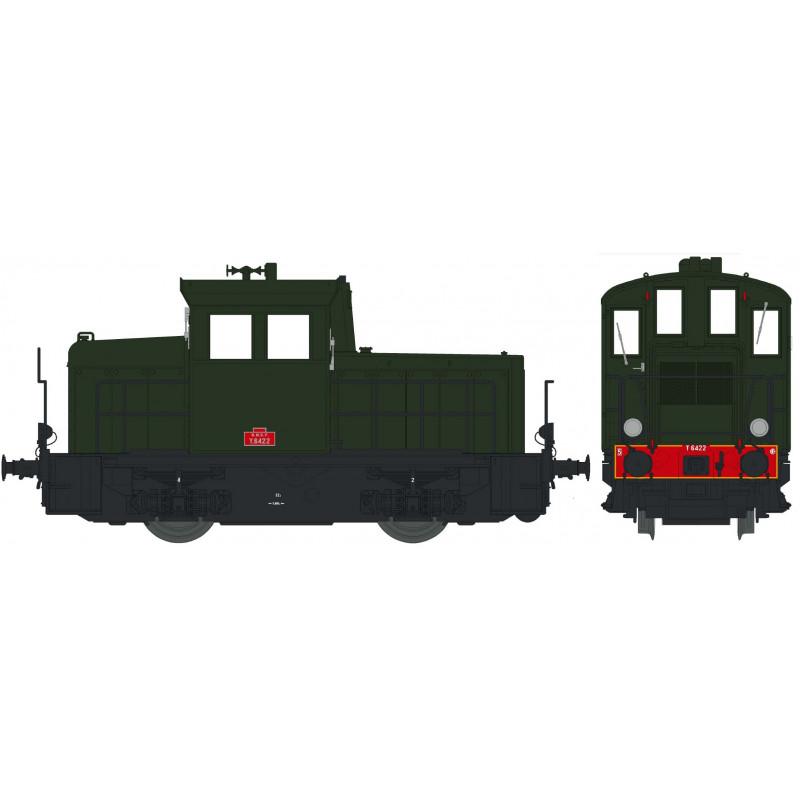Y 6422 SNCF - livrée verte - châssis noir - traverse rouge - plaques rouges - H0