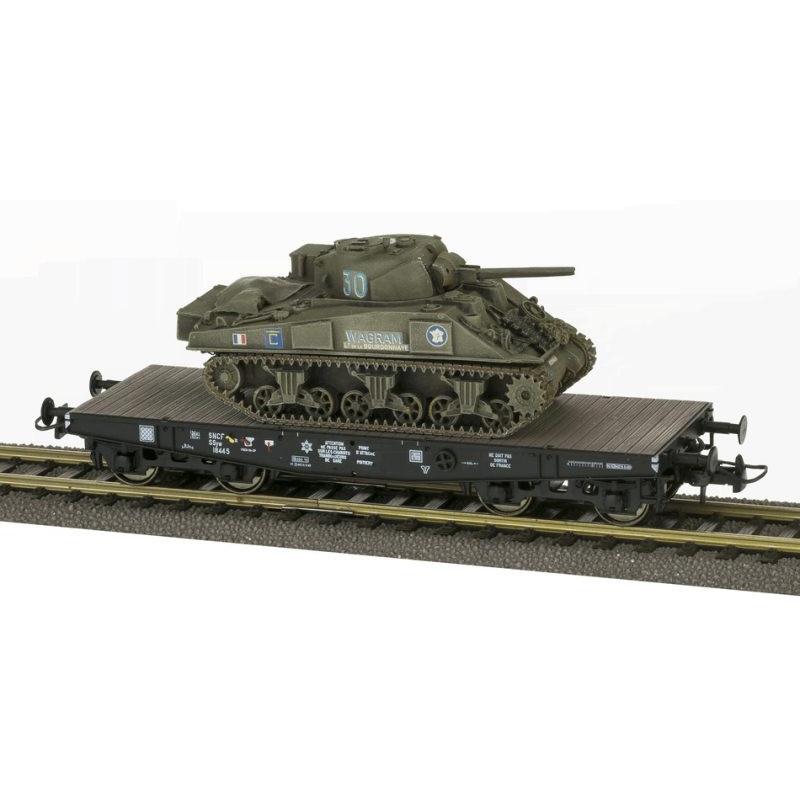 """Porte-char SSyw 18445 SNCF + Sherman M4A2 """"Wagram"""" 2DB - noir - bogie Allemand - H0"""