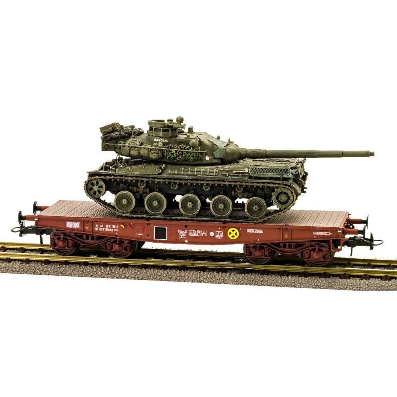 Porte-char Rlmmp SNCF - brun - bogie SNCF Y27 + Char AMX 30B - 1DB 6ème Drag 3ème Esc