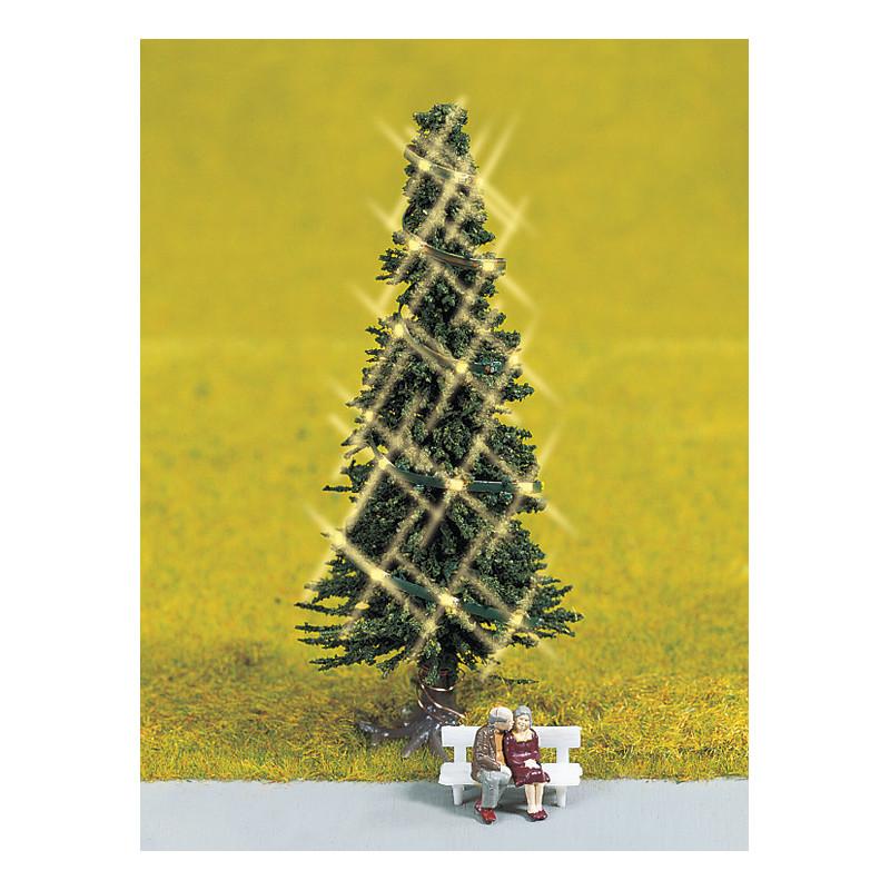 Sapin de Noël vert illuminé + coupe d'amoureux - H0