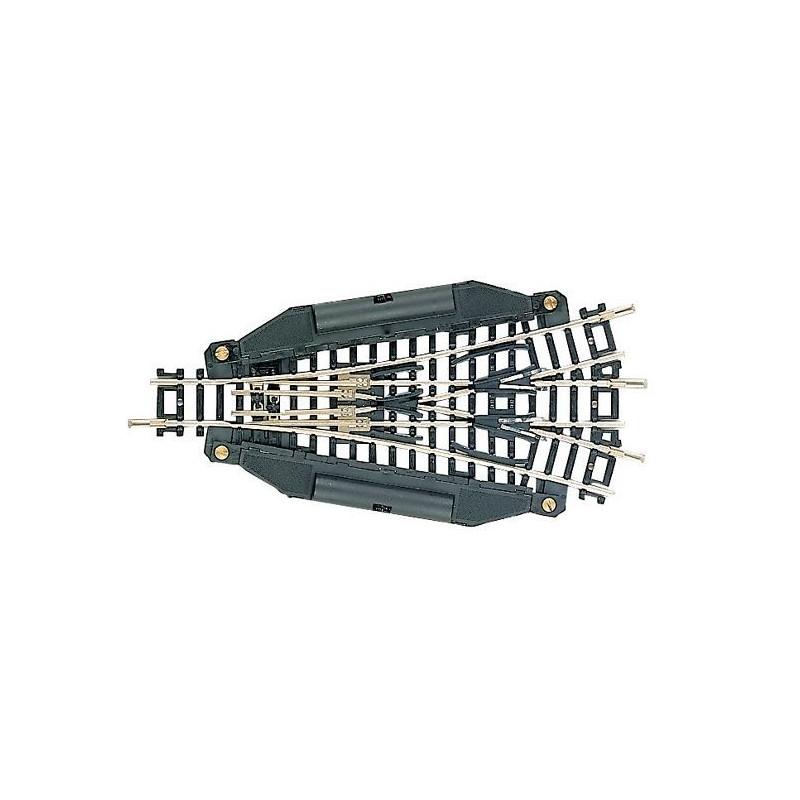 Aiguille triple symétrique électrique 15° - N - code 80 - traverses bois - sans ballast