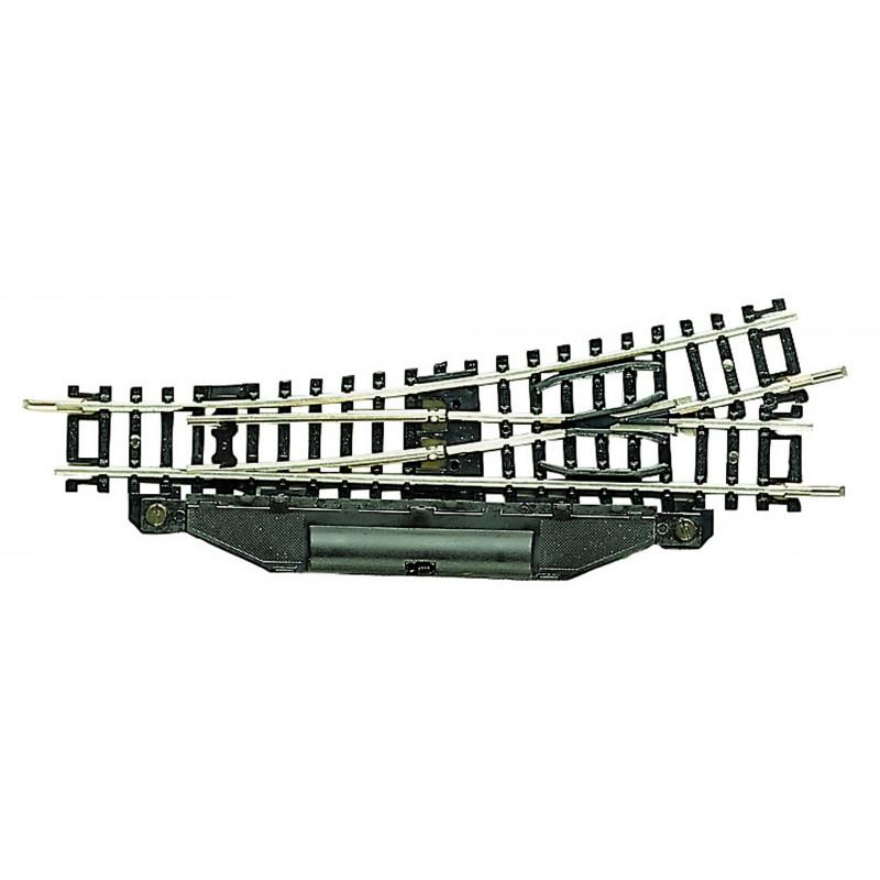 Aiguille standard gauche électrique  15° - N - code 80 - traverses bois - sans ballast -  R5 : 326,6 mm