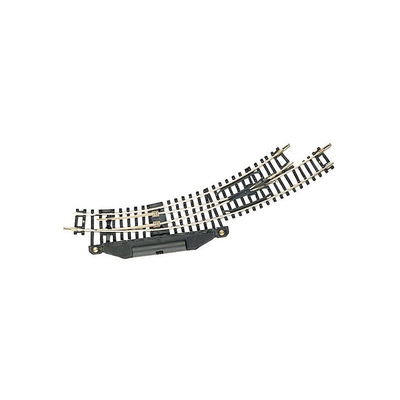 Aiguille enroulée gauche électrique   - N - code 80 - traverses bois - sans ballast -  R1 : 194,6 mm / R2 : 228,2 mm