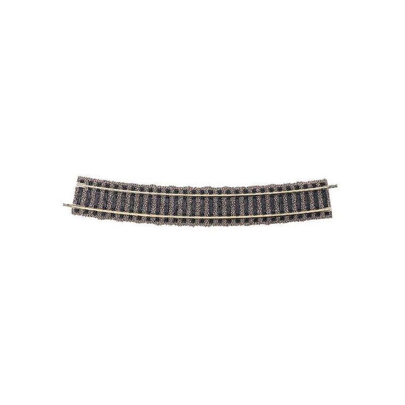 Rail courbe  - H0 - code 100 - traverses bois - avec ballast - Voie Profi -  R : 647 mm  - 20 coupons/cercle