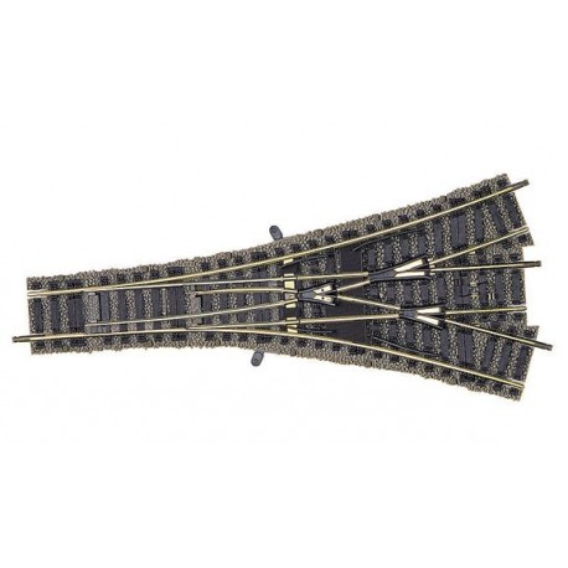 Aiguille triple symétrique manuelle  - H0 - code 100 - traverses bois - avec ballast - Voie Profi