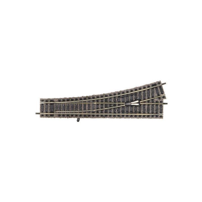 Aiguille standard gauche manuelle  - H0 - code 100 - traverses bois - avec ballast - Voie Profi - Rayon : 647 mm