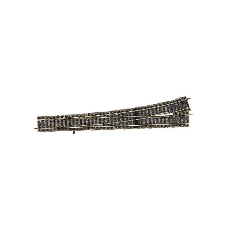 Aiguille longue gauche manuelle 9,5° - H0 - code 100 - traverses bois - avec ballast - Voie Profi - R : 647 mm