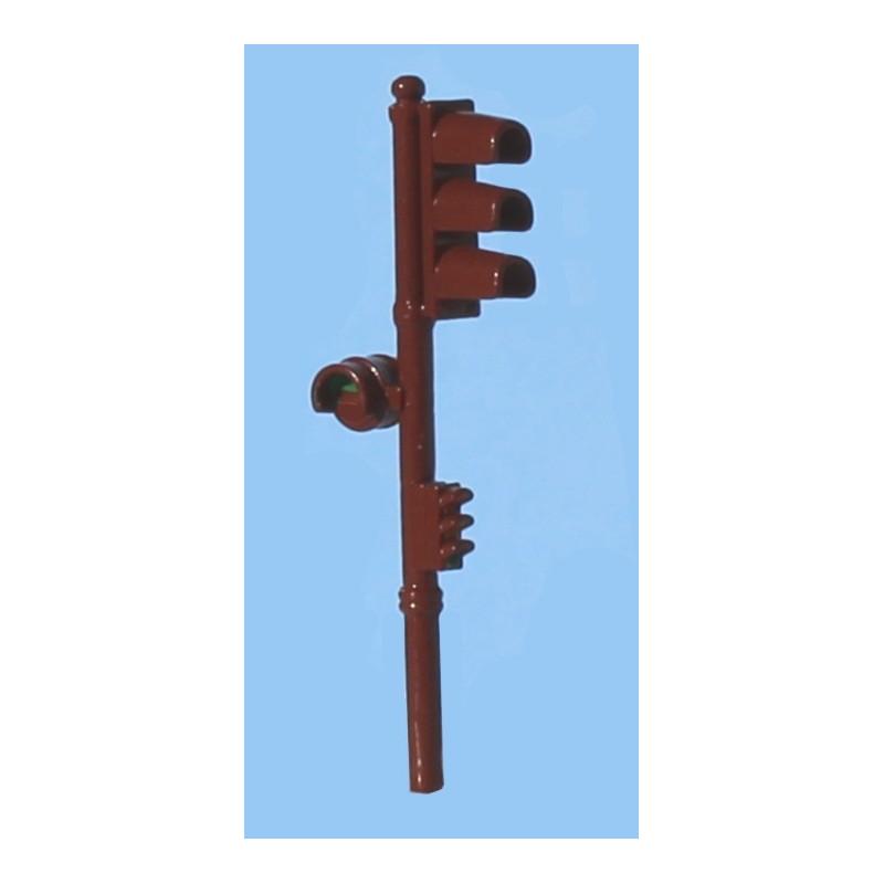Feux tricolore Garbarini simple au rouge, avec répétiteur et signal piéton - brun - 1950 / 60 - H0