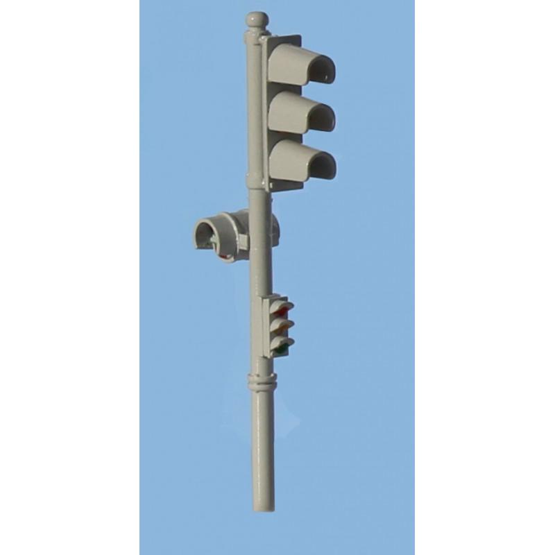 Feux tricolore Garbarini simple avec répétiteur et signal piéton - gris - H0