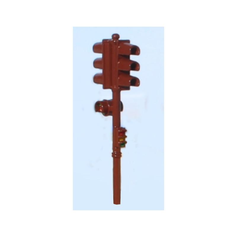 Feux tricolore Garbarini double au rouge, avec répétiteur et signal piéton - brun - 1950 / 60 - H0