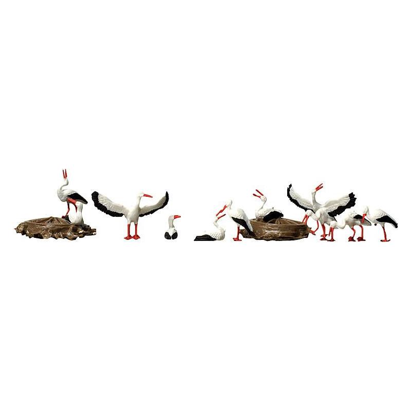 Cigognes et nids - H0