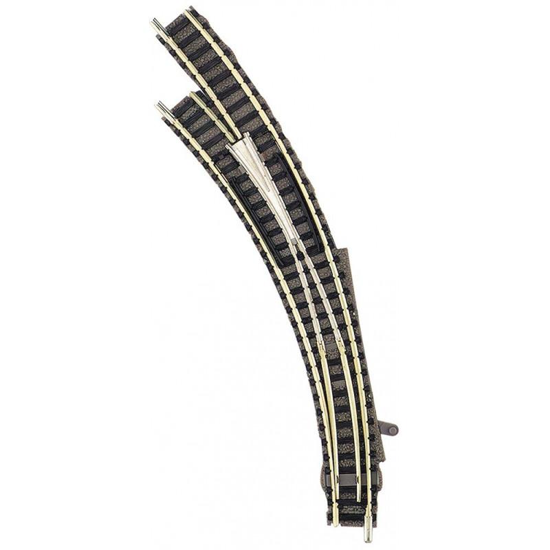 Aiguille enroulée gauche manuelle - N - code 80 - traverses bois - avec ballast - Voie Profi - R1 : 192 mm / R2 : 225,6 mm