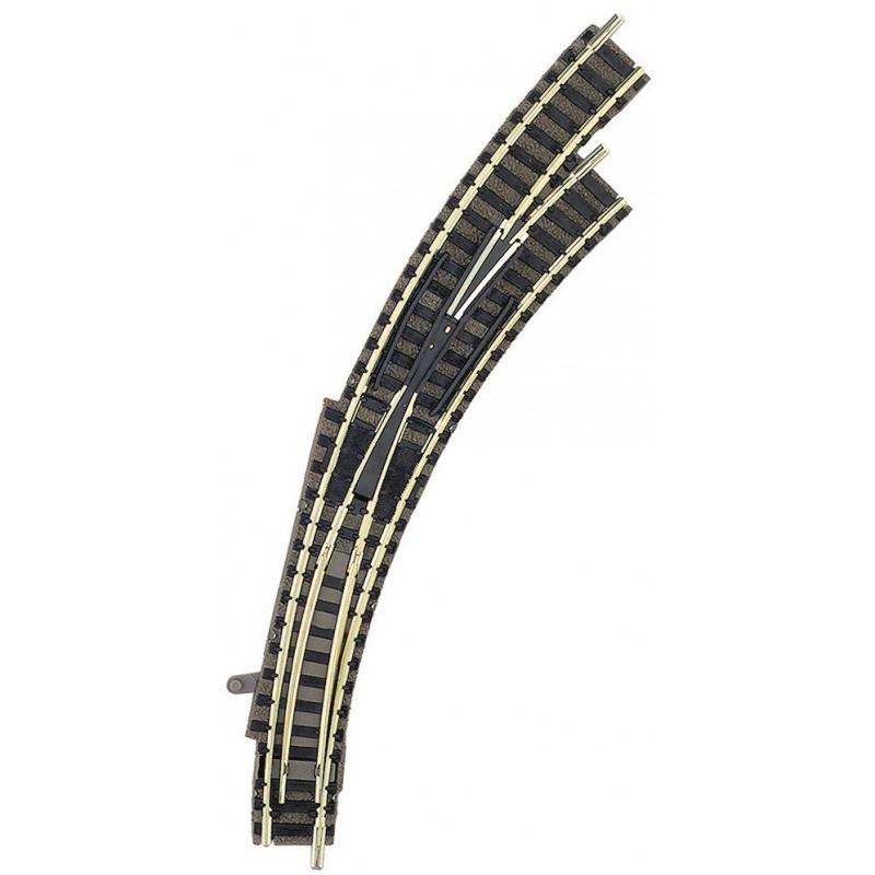 Aiguille enroulée droite manuelle - N - code 80 - traverses bois - avec ballast - Voie Profi - R1 : 192 mm / R2 : 225,6 mm