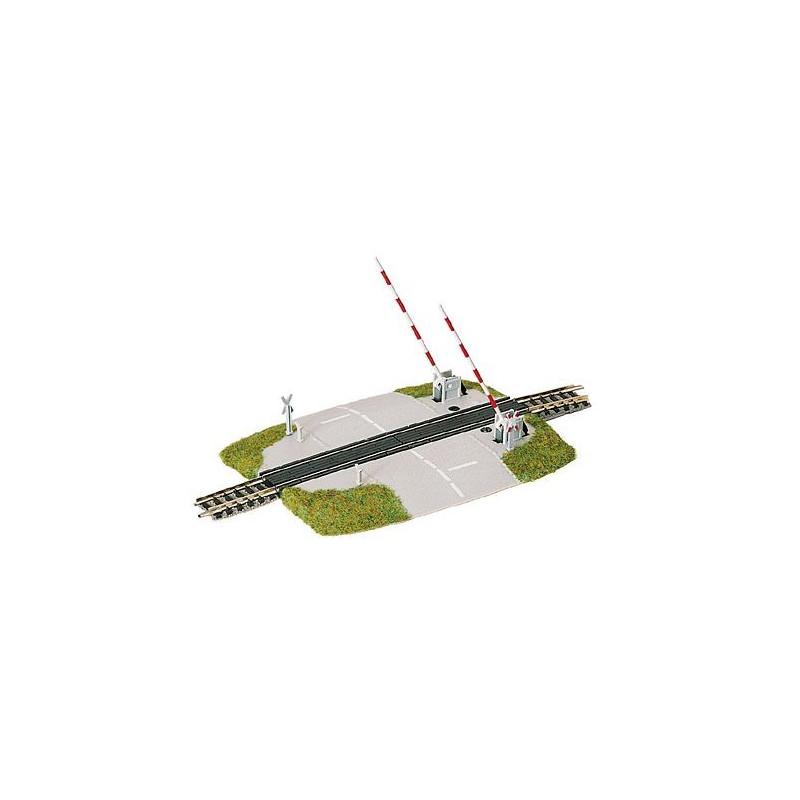 Passage à niveau avec barrières mobiles  - N - code 80 - traverses bois - avec ballast - Voie Profi