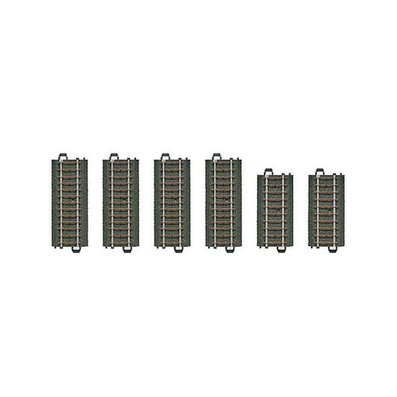 Rails droits x6 - H0 - code 90 - traverses bois - avec ballast - Voie C - courant alternatif
