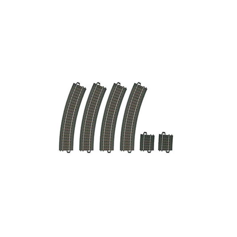 Rails courbes  x6 - H0 - code 90 - traverses bois - avec ballast - Voie C - R2 : 437,50 mm  - courant alternatif