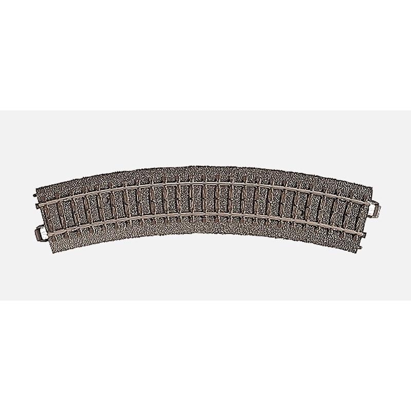 Rail courbe  - H0 - code 90 - traverses bois - avec ballast - Voie C - R1 : 360 mm  - 12 coupons/cercle - courant alternatif