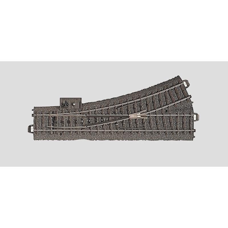 Aiguille standard gauche manuelle - H0 - code 90 - traverses bois - avec ballast - Voie C - R2 : 437,50 mm  - courant alternatif