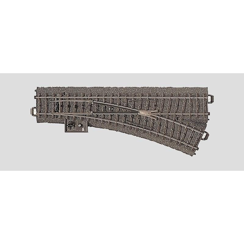 Aiguille standard droite manuelle - H0 - code 90 - traverses bois - avec ballast - Voie C - R2 : 437,50 mm  - courant alternatif