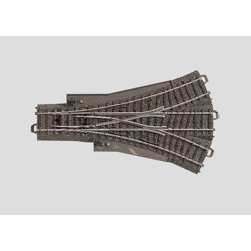 Aiguille triple symétrique manuelle 24,3° - H0 - code 90 - traverses bois - avec ballast - Voie C - R2 : 437,50mm  - alternatif