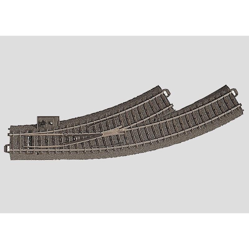 Aiguille enroulée gauche 30° - H0 - code 90 - traverses bois - avec ballast - Voie C - R1 : 360 mm / R2 : 437,50 mm - alternatif