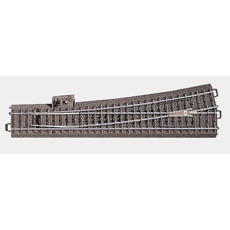 Aiguille longue gauche manuelle 12,1° - H0 - code 90 - traverses bois - avec ballast - Voie C - R : 1 114,60 mm - alternatif