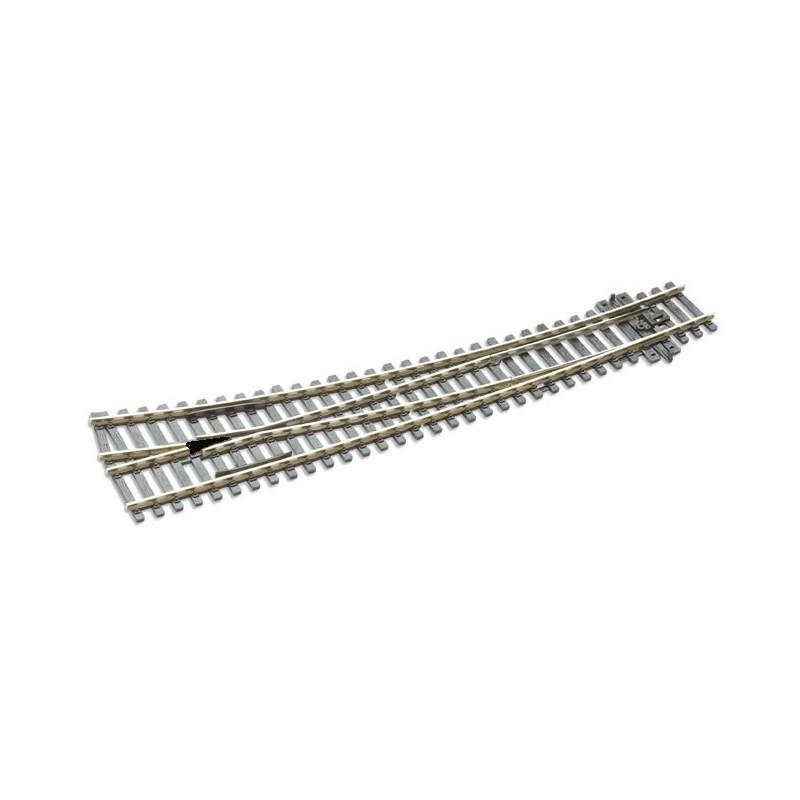 Aiguille enroulée droite manuelle - H0 - code 100 - traverses bois - sans ballast - Voie Streamline - R : 1 524 mm / R : 762 mm
