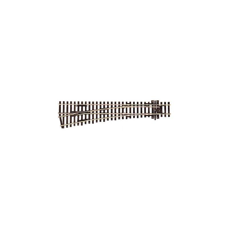 Aiguille standard gauche manuelle 12° - H0 - code 100 - traverses bois - sans ballast - Voie Streamline - R : 914 mm