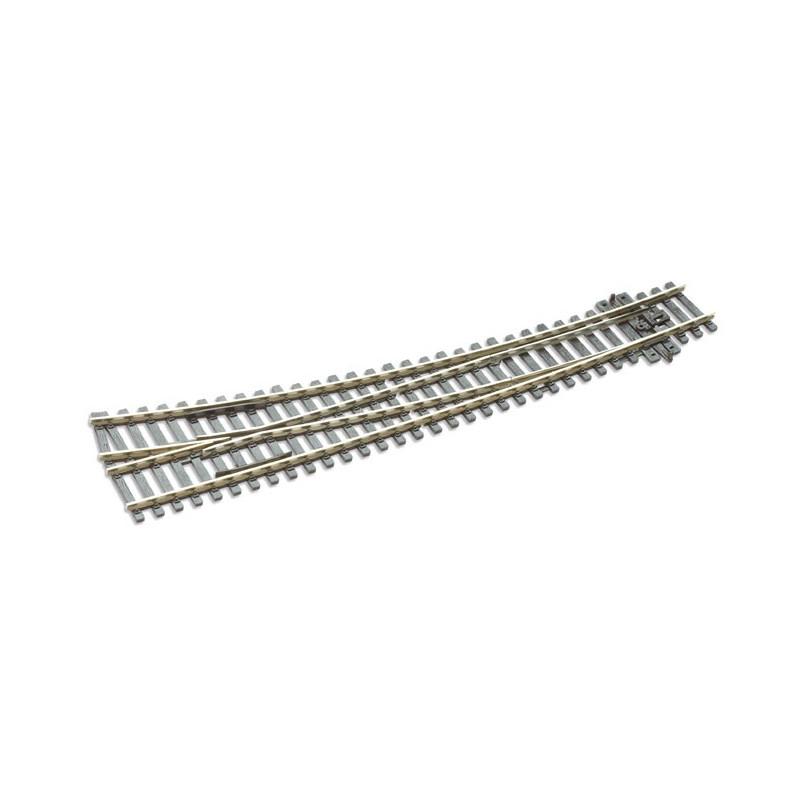 Aiguille enroulée droite manuelle - H0 - code 75 - traverses bois - sans ballast - Voie Streamline - R : 1 524 mm / R : 762 mm