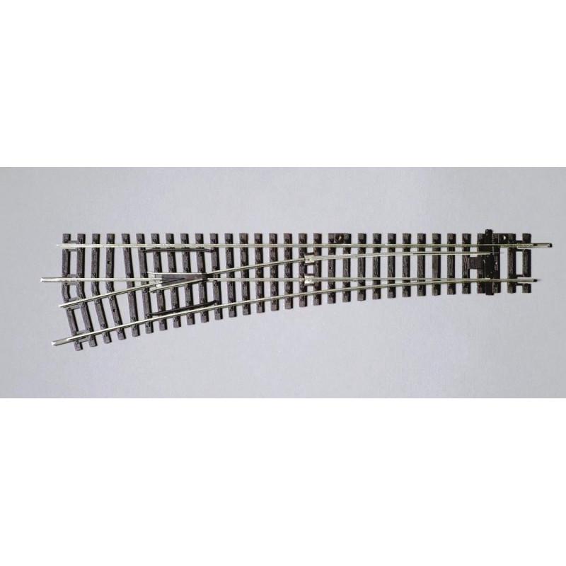 Aiguille standard gauche manuelle 15° - H0 - code 100 - traverses bois - sans ballast - Voie A -  R9 : 908 mm