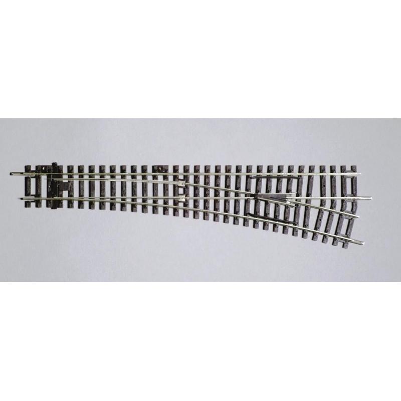 Aiguille standard droite manuelle 15° - H0 - code 100 - traverses bois - sans ballast - Voie A -  R9 : 908 mm