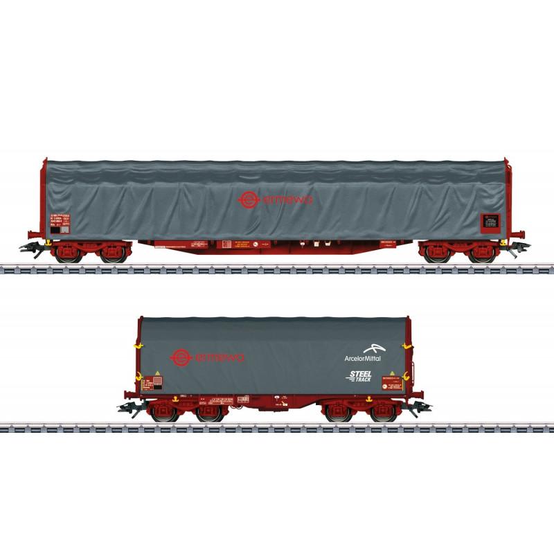 2 wagons à bâche coulissante type Rils et Shimms Ermewa
