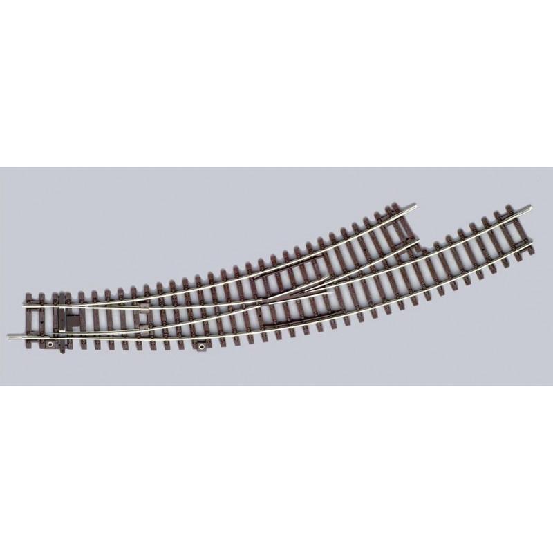Aiguille enroulée courte manuelle - H0 - code 100 - traverses bois - sans ballast - Voie A - R2 : 421,90 mm / R3 : 483,80 mm