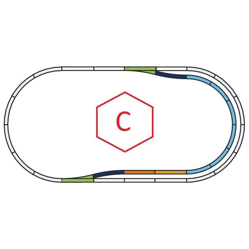 """Set d'extension de voie """"C"""" - H0 - code 100 - traverses bois - sans ballast - Voie A"""