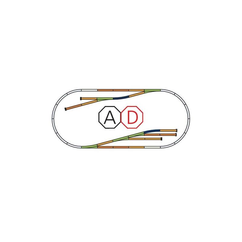 """Set d'extension de voie """"D"""" - H0 - code 100 - traverses bois - sans ballast - Voie A"""