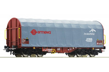 """Wagon bâche coulis. type Shimms SNCF enseigne """"EMERWA - ArcelorMittal"""""""