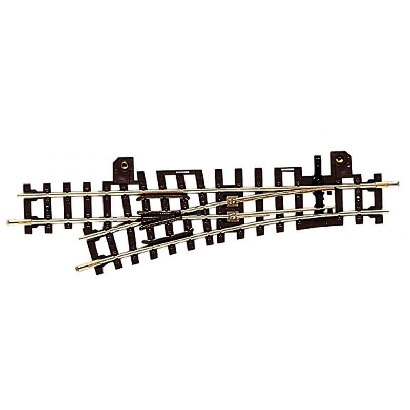 Aiguille standard gauche manuelle 15° - H0e - code 83 - traverses bois régulières - sans ballast