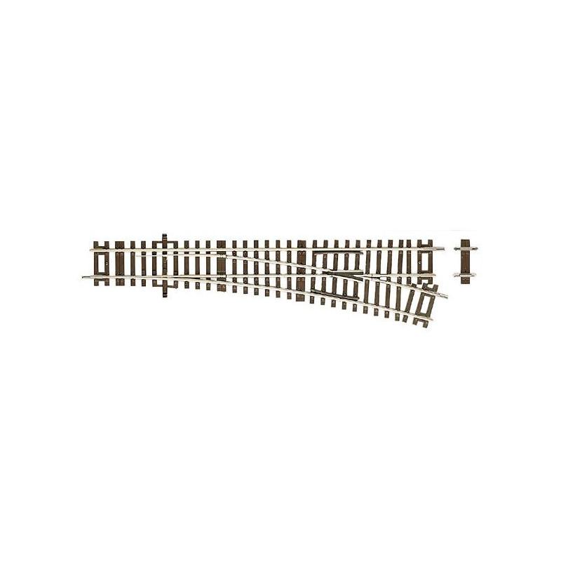 Aiguille standard gauche manuelle 15° - H0 - code 83 - traverses bois - sans ballast - Voie Roco Line - R : 873,50 mm