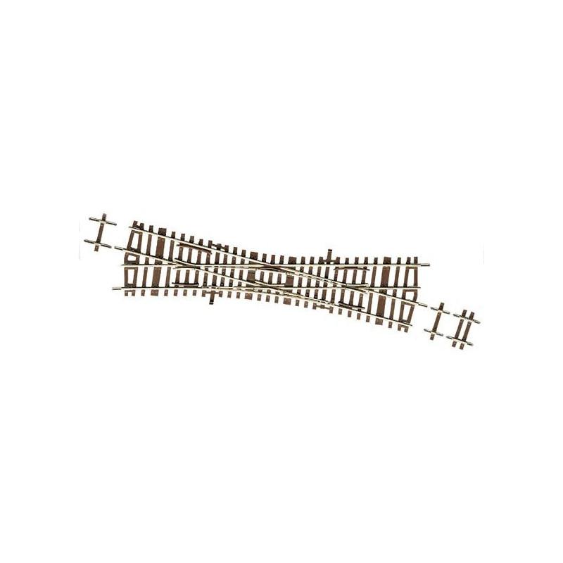 TJS (Traversée Jonction Simple) manuelle 15° - H0 - code 83 - traverses bois - sans ballast - Voie Roco Line - R : 531 mm