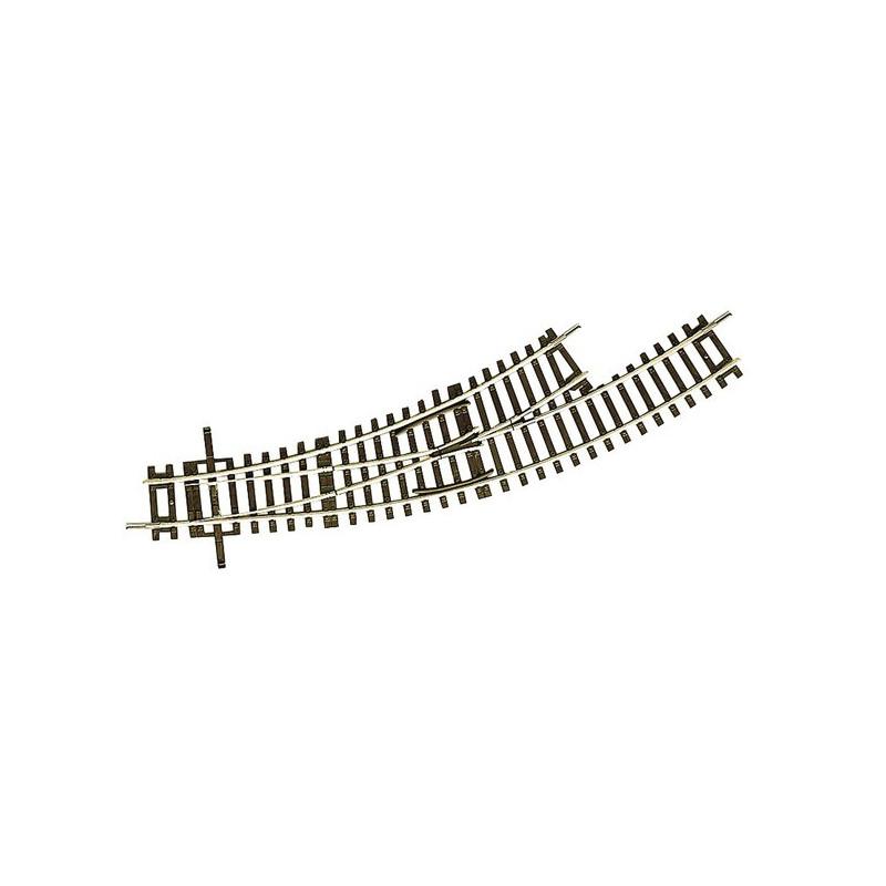 Aiguille enroulée gauche manuelle - H0 - code 83 - traverses bois - sans ballast - Voie Roco Line - R2 : 358 mm / R3 : 419,60 mm