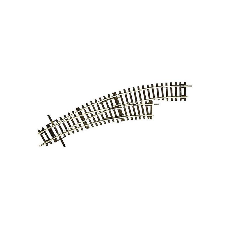 Aiguille enroulée droite manuelle - H0 - code 83 - traverses bois - sans ballast - Voie Roco Line - R2 : 358 mm / R3 : 419,60 mm