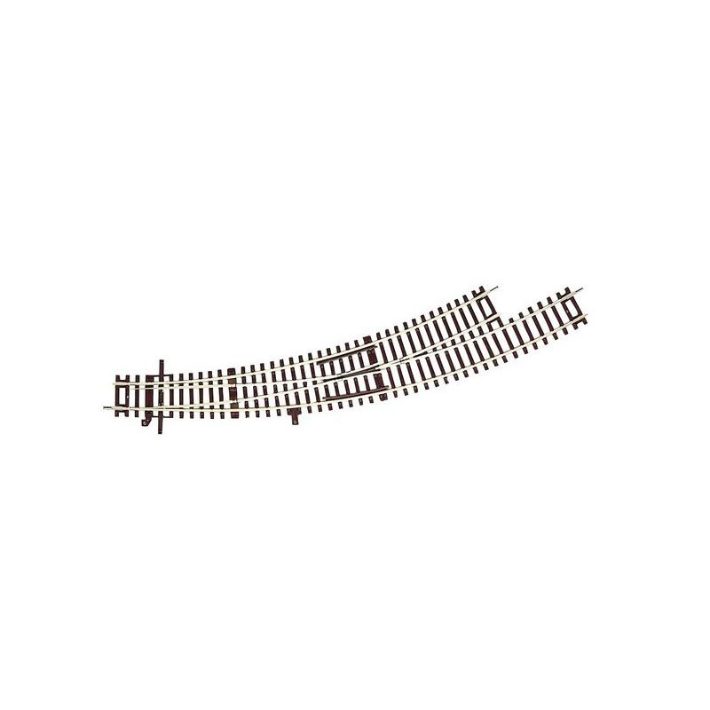 Aiguille enroulée gauche manuelle - H0 - code 83 - traverses bois - sans ballast - Voie Roco Line - R5 : 542,8mm / R6 : 604,4mm