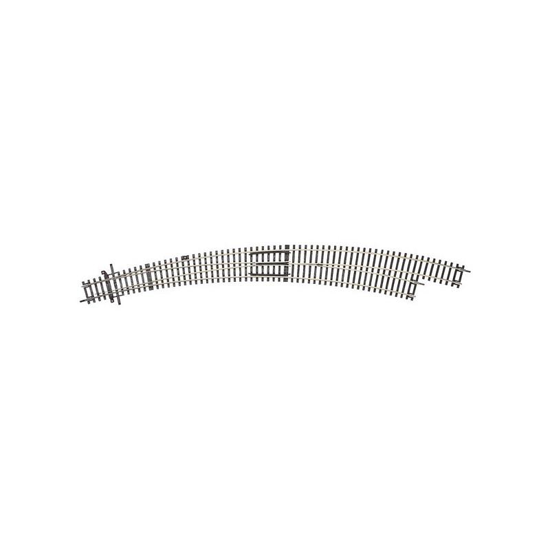 Aiguille enroulée droite manuelle - H0 - code 83 - traverses bois - sans ballast - Voie Roco Line - R9 : 826,4 mm / R10 : 888 mm