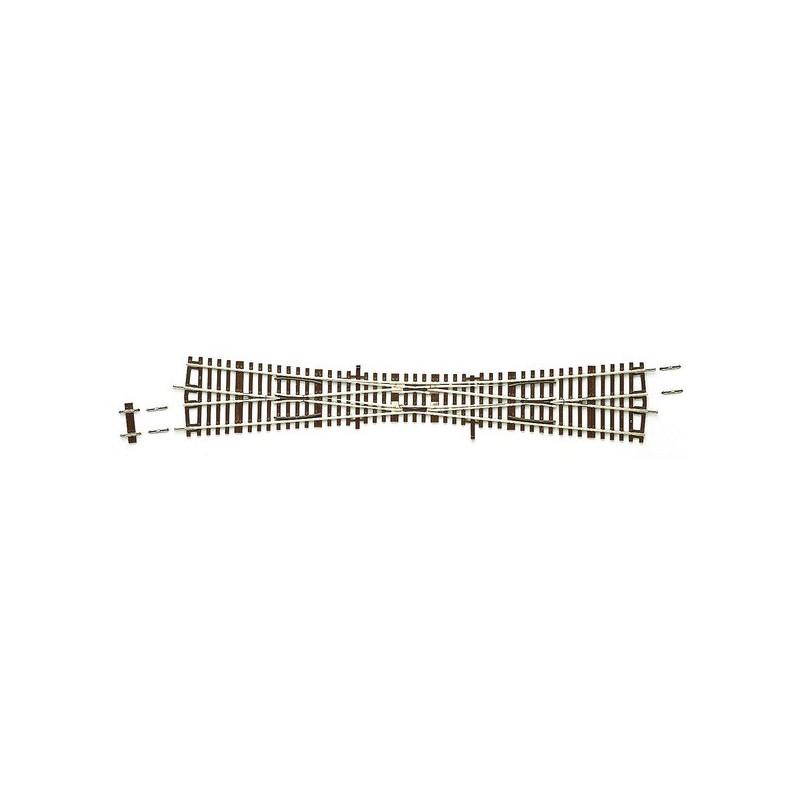 TJS manuelle 10° - H0 - code 83 - traverses bois - sans ballast - Voie Roco Line - R : 959 mm