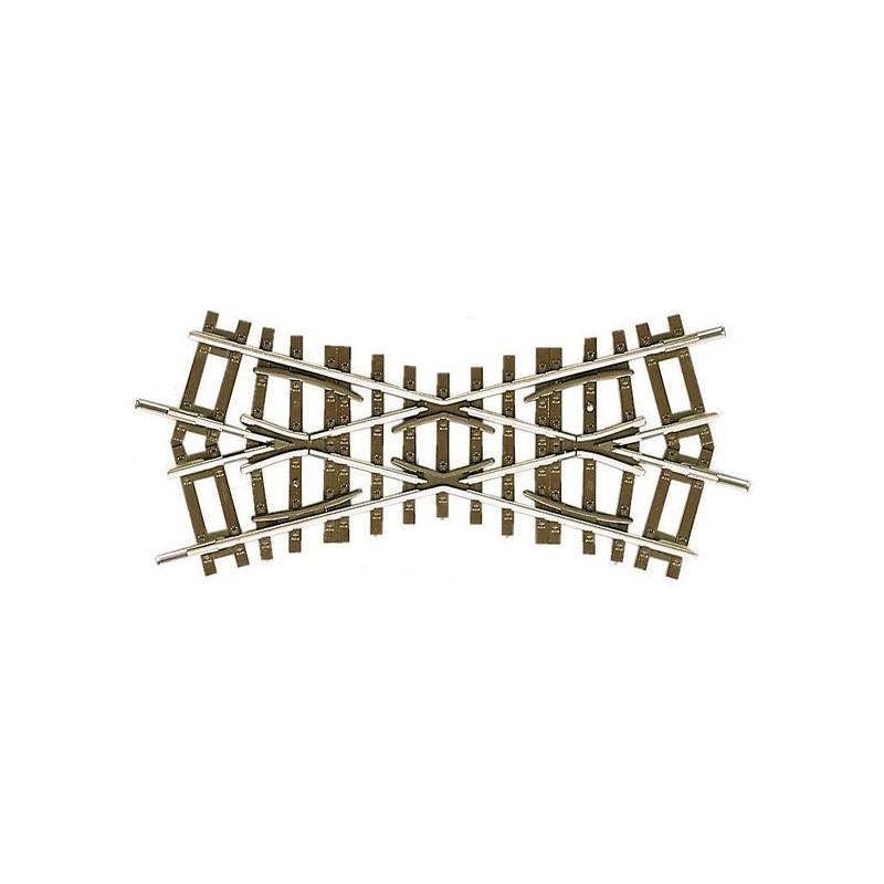 Croisement court 30° - H0 - code 83 - traverses bois - sans ballast - Voie Roco Line