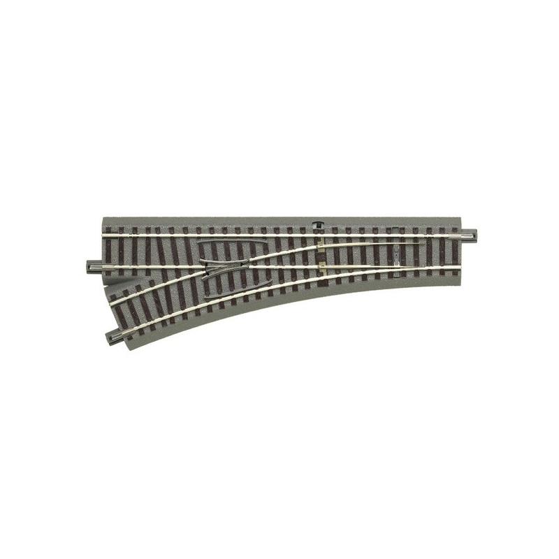 Aiguille standard gauche manuelle 22,5° - H0 - code 83 - traverses bois - avec ballast - Voie Geo Line - R : 502,70 mm