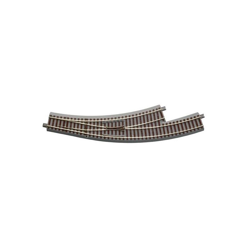 Aiguille enroulée gauche manuelle - H0 - code 83 - traverses bois - avec ballast - Voie Geo Line - R3: 434,50 mm / R4: 511,10 mm