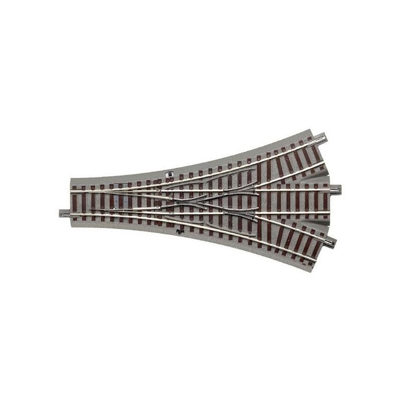 Aiguille triple symétrique manuelle 22,5 - H0 - code 83 - traverses bois - avec ballast - Voie Geo Line - ?